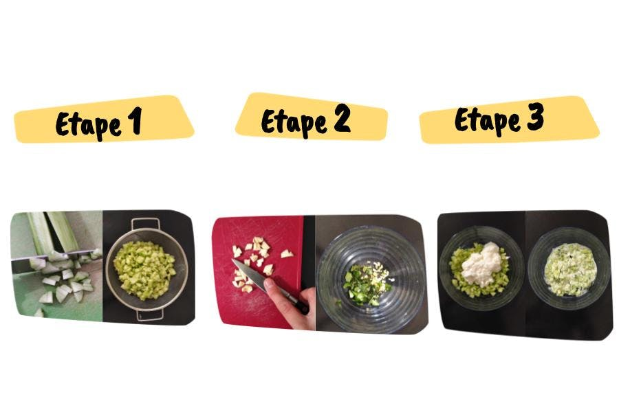 les étapes de la recette de dip apéro façon tzatziki