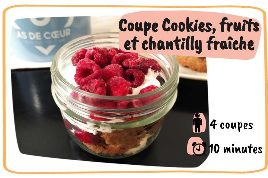 coupe cookies, fruits et chantilly basilic et citron vert pour 4 personnes en 10 minutes