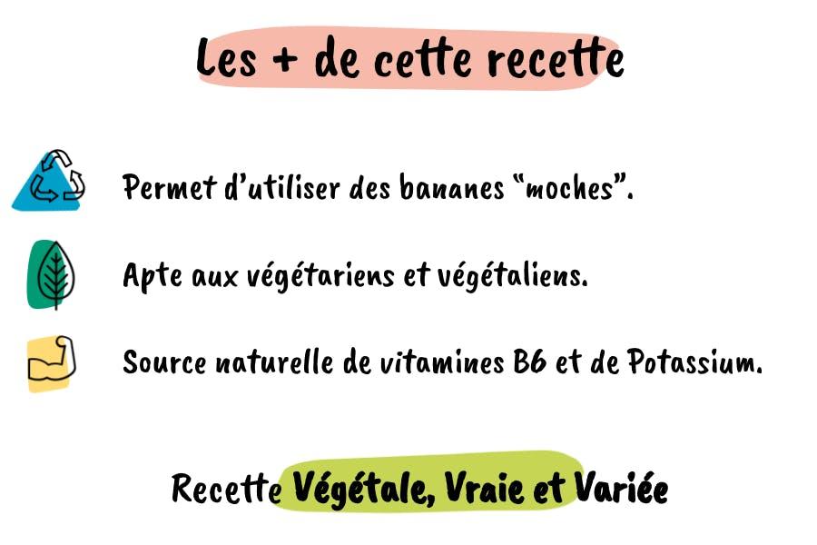 Les plus de la recette : utiliser les bananes moches, végétal et source de vitamines B6 et Potassium