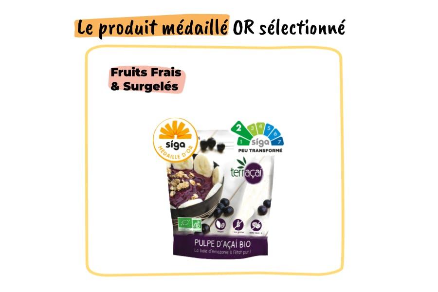 produit médaillé sélectionné pour le sorbet
