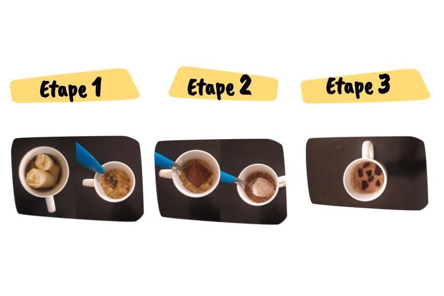 Les étapes de la recette de mug cookie à la banane