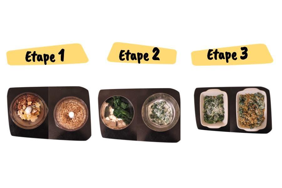 Les étapes de la recette de crumble d'épinards