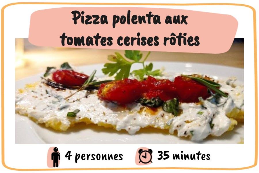 Recette de pizza polenta aux tomates cerises rôties pour 4 personnes en 35 minutes