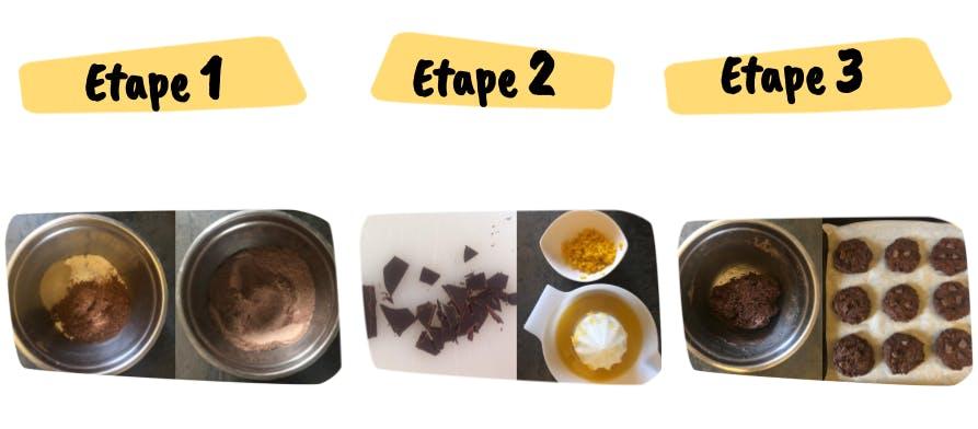 Les étapes de cette recette de cookies au chocolat