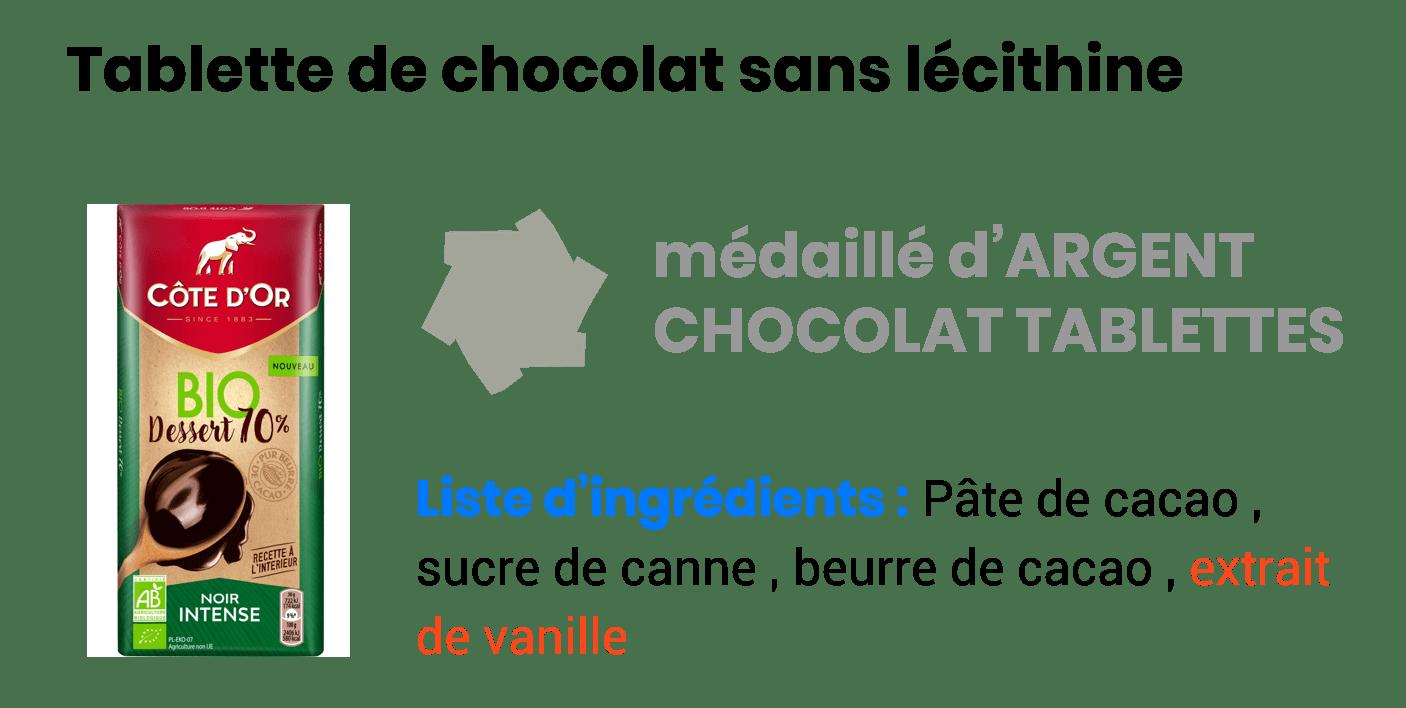 tablette de chocolat sans lécithine
