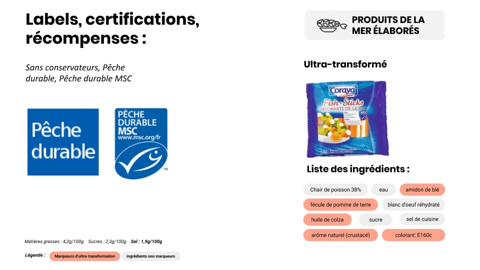 label pèche durable et aliments ultra-transformés