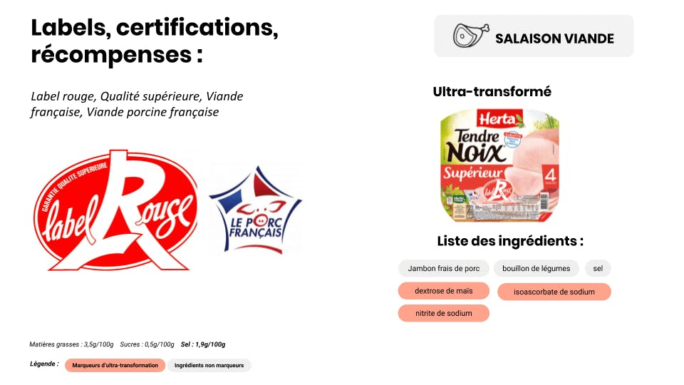 label rouge et aliments ultra-transformés