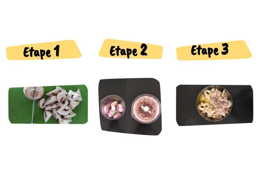 Les étapes de la recette de champignons rôtis aux échalotes pour 4 personnes en 40 minutes