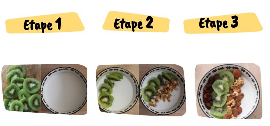 Les etapes de la recette de smoothie bowl d'hiver