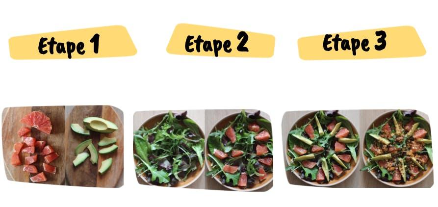 les etapes de la recette de Salade Croustillante Pomelo et Avocat